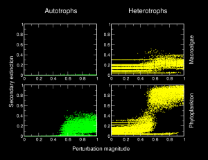 Perturbation of macroalgae (top) and phytoplankton (bottom), and resulting loss of autotrophic productivity because of top-down effects (left), and secondary extinction of heterotrophic species (right).